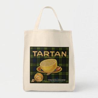 Retro Tartan Grapefuit label Grocery Bag