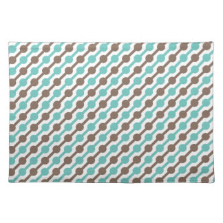 Retro Taupe Brown and Teal Green Pattern Place Mats