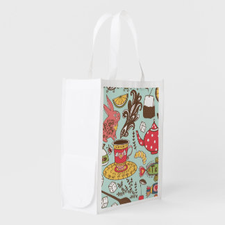 Retro Tea Time Tea Party Kitchen Breakfast Pattern Reusable Grocery Bag