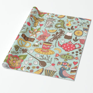 Retro Tea Time Tea Party Kitchen Breakfast Pattern Wrapping Paper