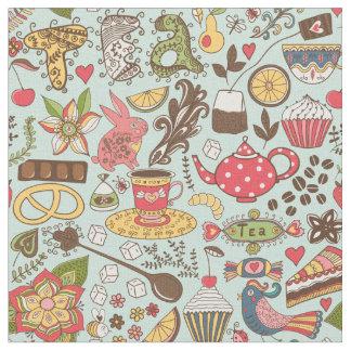Retro Tea Time Tea Party Kitchen Pattern Fabric
