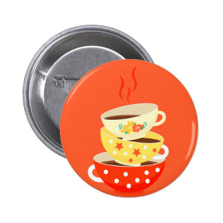Retro tea vintage tea cups whimsical art 6 cm round badge