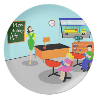 Retro Teacher Melamine Plate