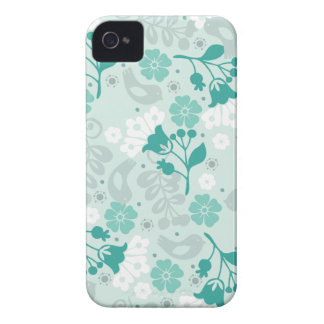 Retro Teal Blue Flowers and Birds Case