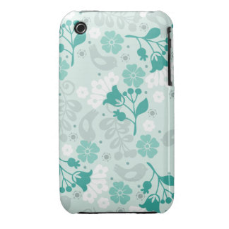 Retro Teal Blue Flowers and Birds Case Case-Mate iPhone 3 Case