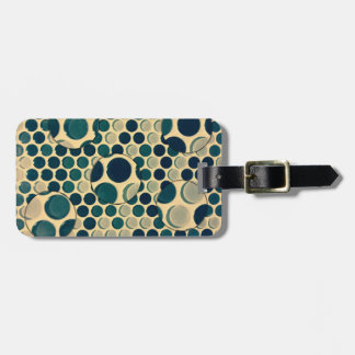 Retro teal glass bubbles luggage tag