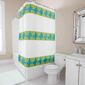 Retro Teal & Green Abstract Striped Shower Curtain