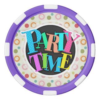 Retro Teal Green, Red, Pink, Orange Polka Dots Poker Chips Set