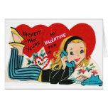 Retro Teen Girl Valentine's Day Card