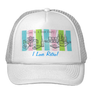 Retro Teenage Birthday Party Mesh Hats