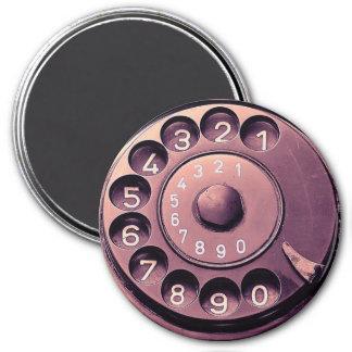 Retro telephone dial 7.5 cm round magnet