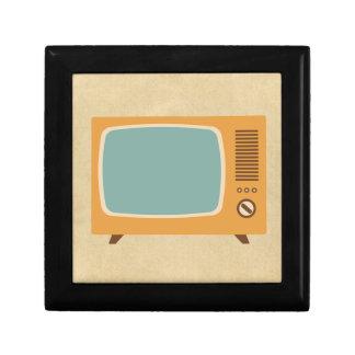 Retro Television Set Small Square Gift Box