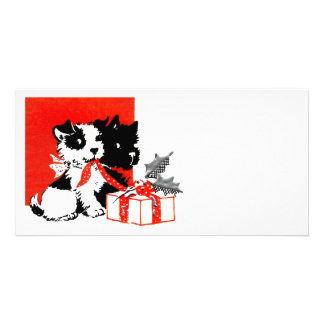 Retro Terrier and Scotty Dogs Personalized Photo Card