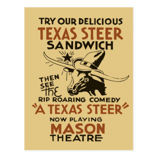 Retro Texas Steer Sandwich and theatre play ad Postcard