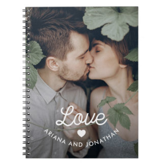 Retro Text | Love with Heart and Your Photo Notebook