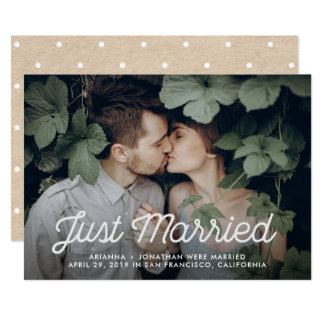 Retro Text | Photo Just Married Announcement