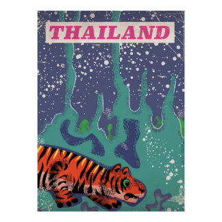 Retro Thailand tiger travel poster
