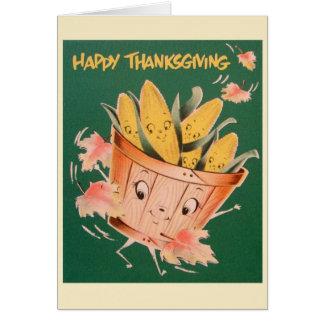 Retro Thanksgiving Anthropomorphic Greeting Card