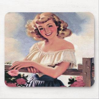 Retro Theme Country Life Pretty Girl Mousepad