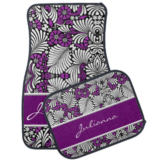 Retro Themed Floral in Purple and White Floor Mat
