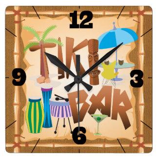 Retro Tiki Bar Square Wall Clock