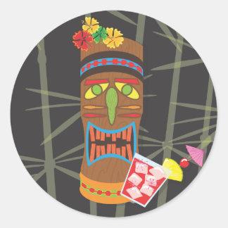 Retro Tiki Head Round Sticker