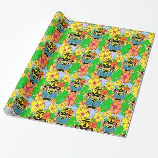 Retro tiki hula Hawaiian gift wrap wrapping paper