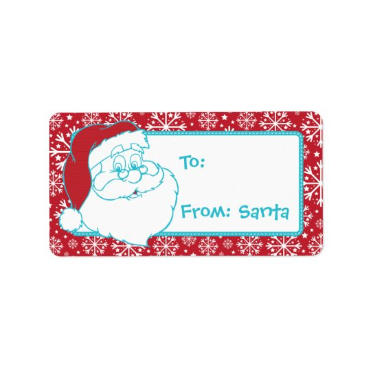 Retro To From Santa Tag Red Snowflakes