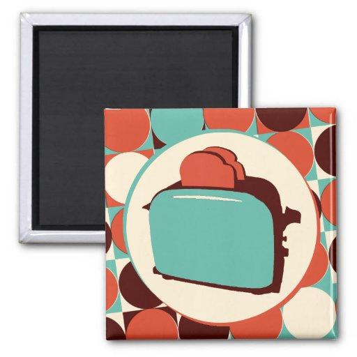 Retro Toaster square magnet