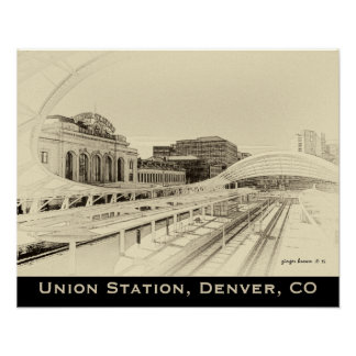 Retro Tone Look For Union Station, Denver, CO Poster