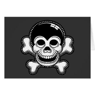 Retro Toon Monkey Pirate Skull Greeting Card