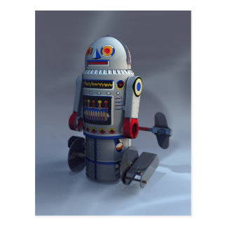 Retro Toy Robot Number 7 Postcard