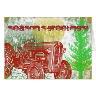 Retro Tractor Christmas Card