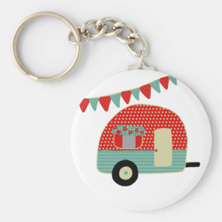 Retro Trailer, Camper Vintage Bunting Add Name Key Ring