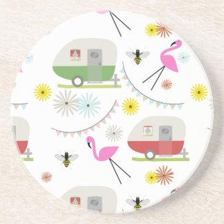 Retro Trailer & Flamingos Pattern Coaster