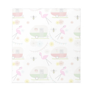 Retro Trailer & Flamingos Pattern Notepad