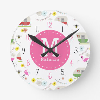Retro Trailer & Flamingos Pattern Round Clock