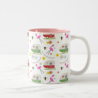 Retro Trailer & Flamingos Pattern Two-Tone Coffee Mug