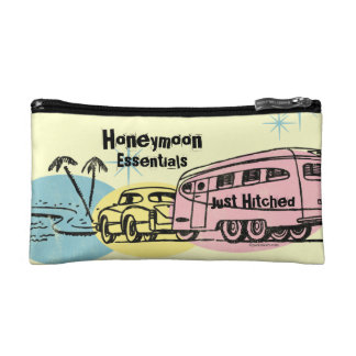 Retro Trailer Just Hitched Personalized Cosmetic Bag
