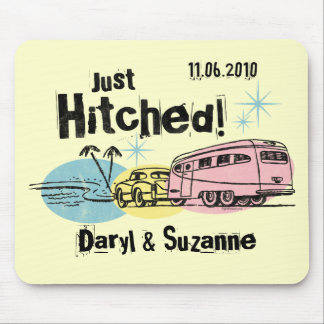 Retro Trailer Just Hitched Personalized Mousepad