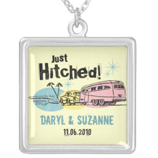 Retro Trailer Just Hitched Personalized Necklace