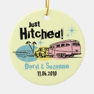 Retro Trailer Just Hitched Personalized Ornament
