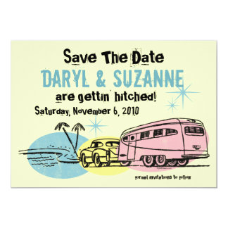 Retro Trailer Just Hitched Save The Date 13 Cm X 18 Cm Invitation Card