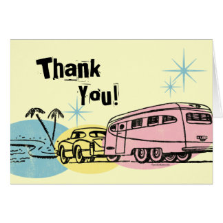 Retro Trailer Just Hitched Thank You Note Card