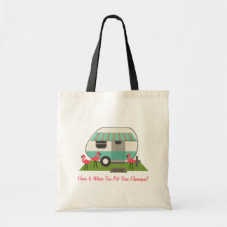 Retro Trailer With Pink Flamingos - Home Is... Budget Tote Bag