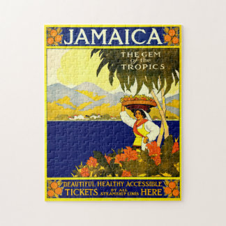 Retro Travel Poster Jamaica. Jigsaw Puzzle