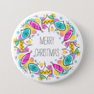 Retro Tree Baubles Christmas button