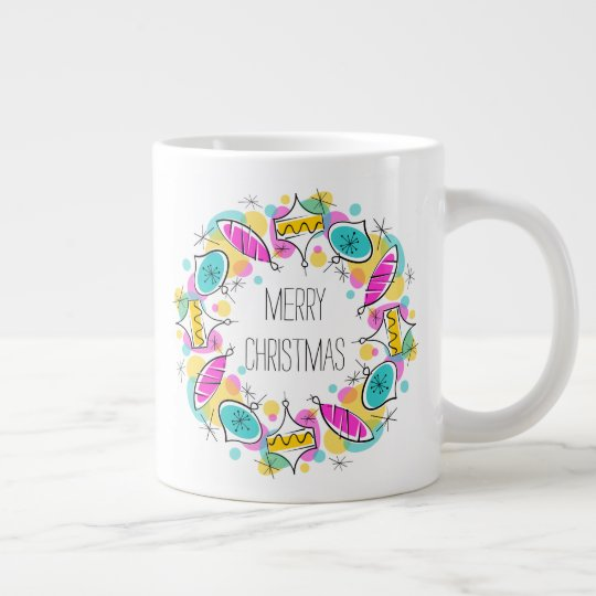 Retro Tree Baubles Circle Christmas mug jumbo