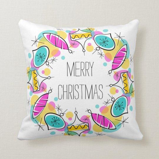 Retro Tree Baubles Circle Christmas square Cushion