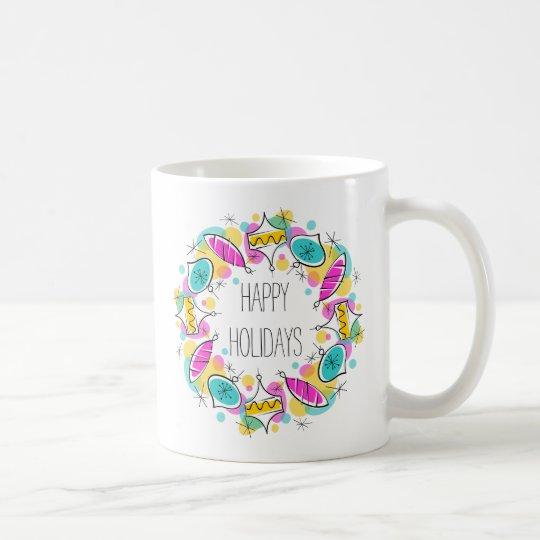 Retro Tree Baubles Circle Holidays mug